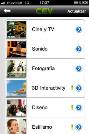 diseño de aplicaciones iphone y androd de cev multimedia 2