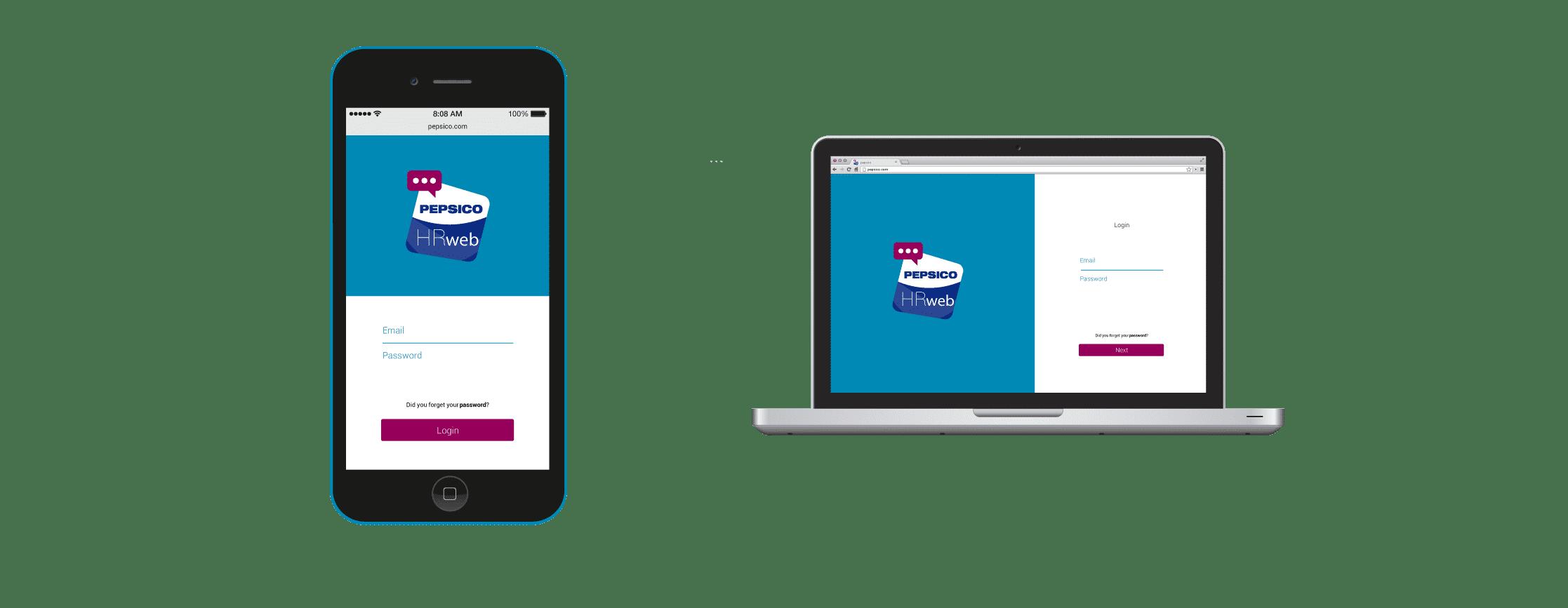Ejemplo login de la app de Pepsico