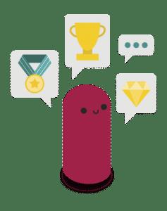 Iconos de un ejemplo de gamificación
